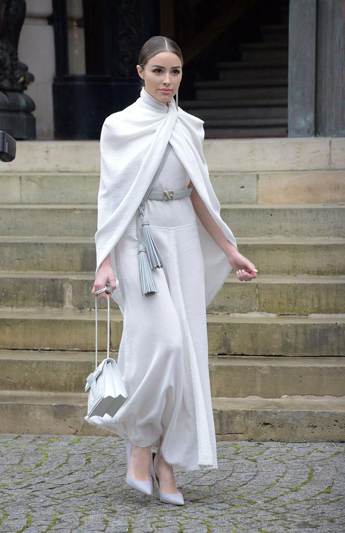 olivia culpo, street style, nina ricci, white dress