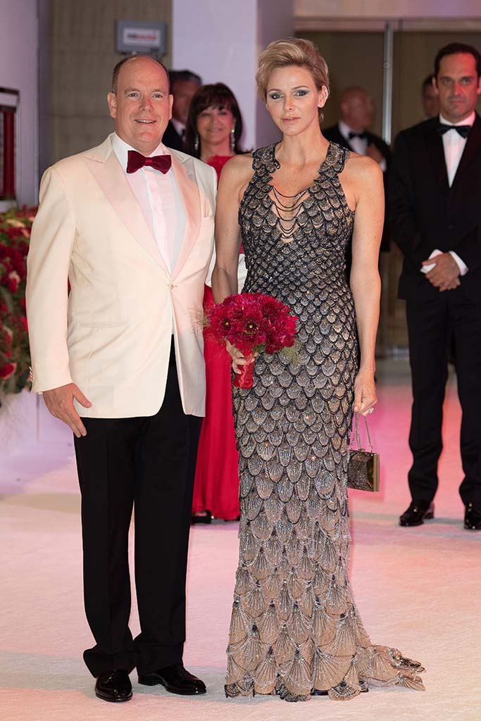 versace dress, Princess Charlene of Monaco and Prince Albert II of Monaco attend the 70th annual Red Cross Gala at the sporting club in Monte-Carlo, July 27, 2018.70th annual Red Cross Gala, Monte Carlo, Monaco - 27 Jul 2018