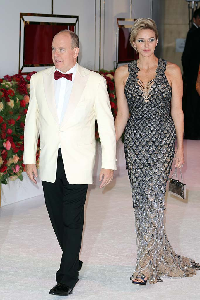 versace dress, Prince Albert II of Monaco and Princess CharleneRed Cross Ball charity event in Monaco - 27 Jul 2018Prince Albert II of Monaco (R) arrives with his wife Princess Charlene (L) arrive for the Red Cross Ball at the Sporting Club Salle des Etoiles in Monaco, 27 July 2018. The Red Cross Ball is a traditional and annual charity event in the Principality of Monaco.