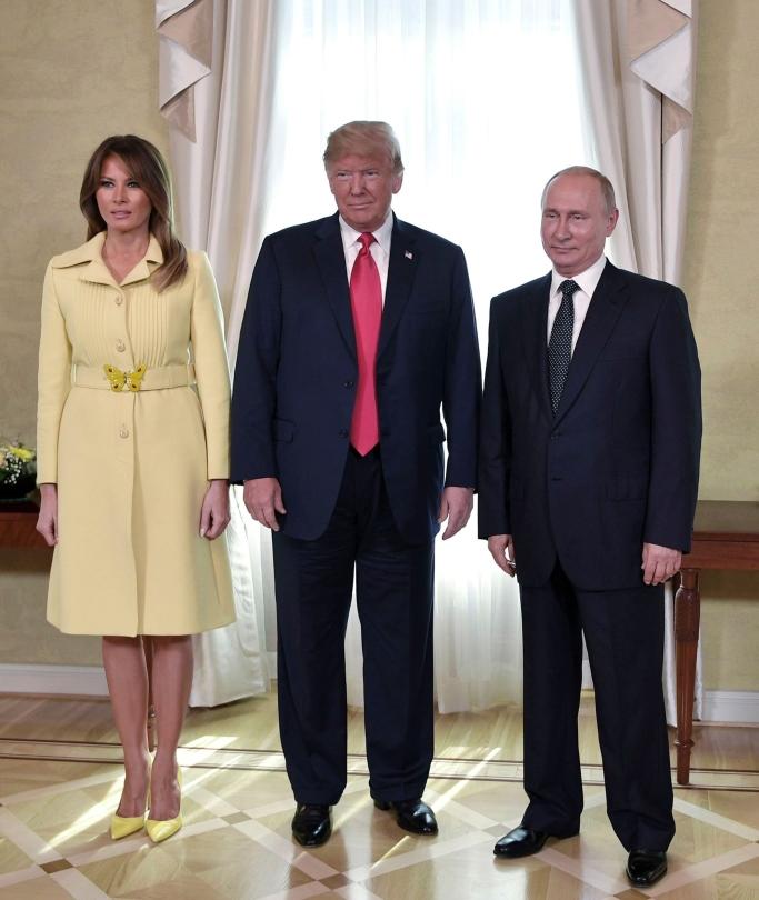 Vladimir Putin, melania trump, donald trump, gucci coat