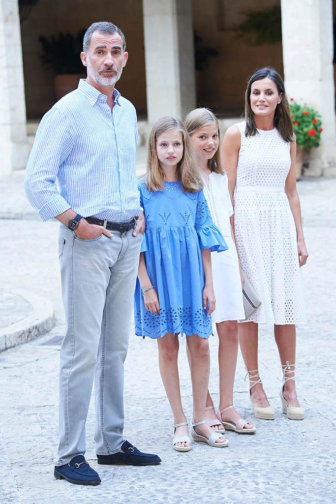 King Felipe VI of Spain, Queen Letizia of Spain, Crown Princess Leonor, Princess SofiaSpanish Royals at Almudaina Palace, Palma, Spain - 29 Jul 2018