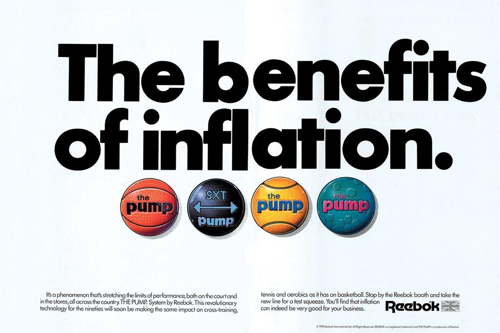 Reebok pump, 1990, vintage retro advertisement