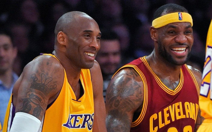 Kobe Bryant, LeBron James Los Angeles Lakers guard Kobe Bryant, left, and Cleveland Cavaliers forward LeBron James Lakers