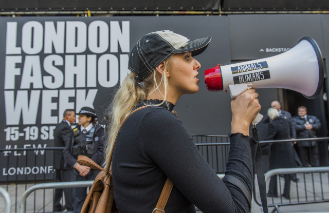 An anti-fur protest in London.