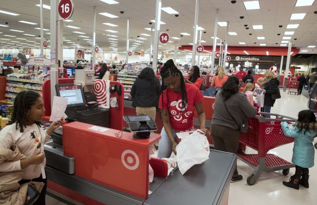 Customers check out at a Target store on Black Friday in Alexandria, Virginia, USA, 24 November 2017. The day after Thanksgiving known as 'Black Friday' kicks off the holiday season of shopping. Thirty percent of annual retail sales occur between Black Friday and Christmas, according to the National Retail Federation.Black Friday shopping, Alexandria, USA - 24 Nov 2017