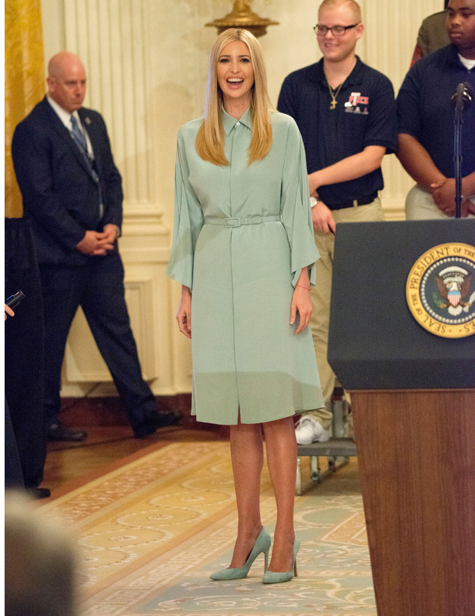 ivanka trump, carra pumps, green ralph lauren karen dress, white house