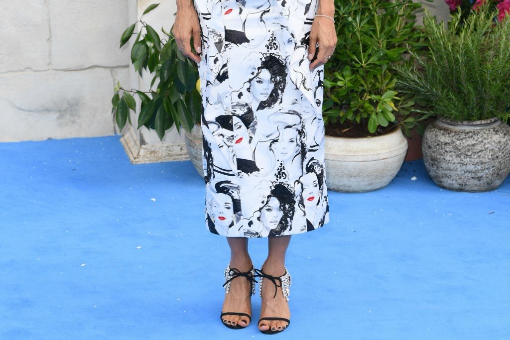 Thandie Newton wears Giuseppe Zanotti Mistico crystal ankle-wrap sandals.