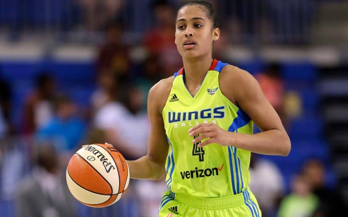 Dallas Wings guard Skylar Diggins-Smith moves the ball up court against the Seattle Storm during a WNBA basketball game, in Arlington, TexasStorm Wings Basketball, Arlington, USA - 04 Aug 2017