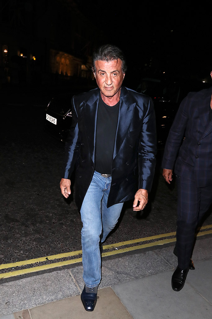 sylvester stallone, blue pants, blue shoes, london