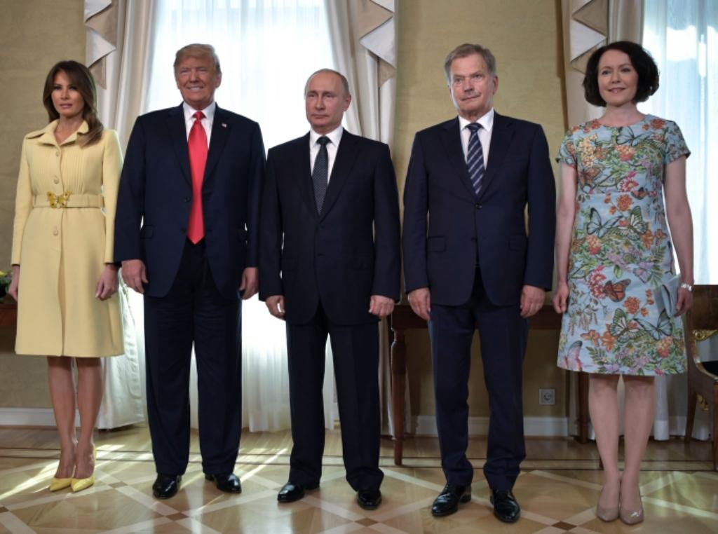 Melania Trump, Donald Trump, Vladimir Putin, Finnish President Sauli Niinisto and his wife Jenni Haukio