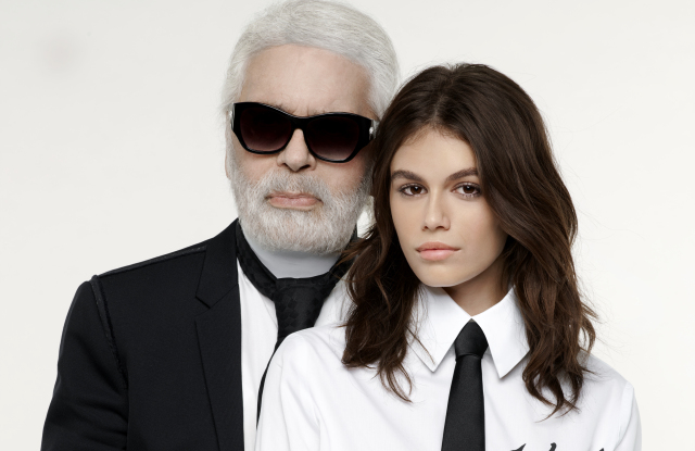 Karl Lagerfeld and Kaia Gerber