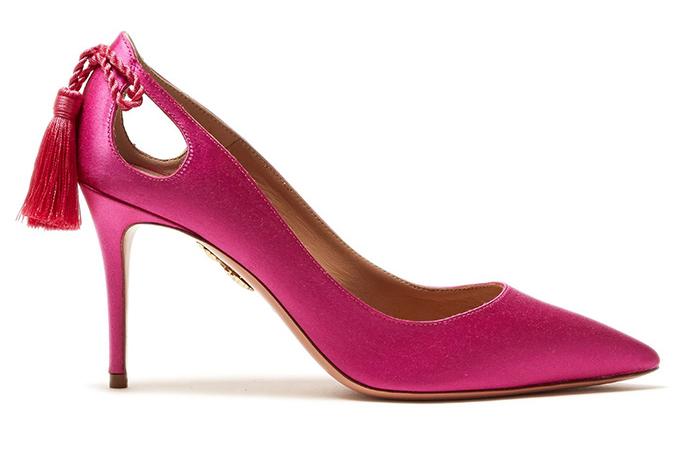 Aquazurra pink satin pumps