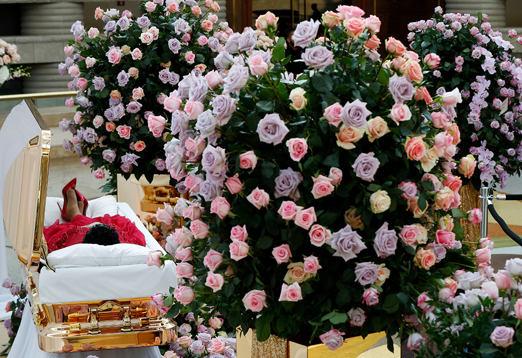 christian louboutin shoes, red dress, Promethean casket, Aretha Franklin lies in her casket at Charles H. Wright Museum of African American History during a public visitation in Detroit, . Franklin died Aug. 16, of pancreatic cancer at the age of 76Aretha Franklin, Detroit, USA - 28 Aug 2018