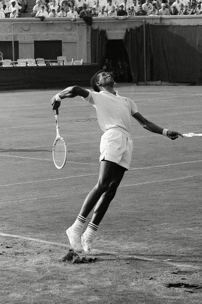 Arthur Ashe wears tennis whites at the 1965 U.S. Open.