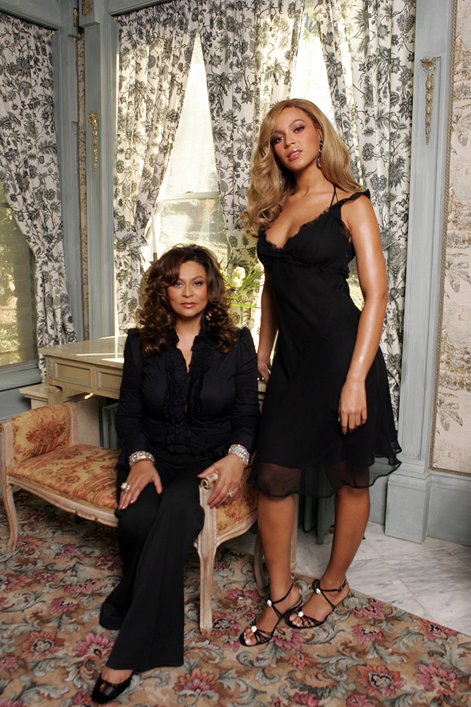 Tina Knowles (L) and Beyonce Knowles both wear House of Dereon.Beyonce and Tina Knowles, Yonkers