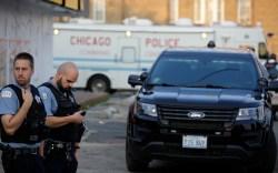 Chicago police outside police van