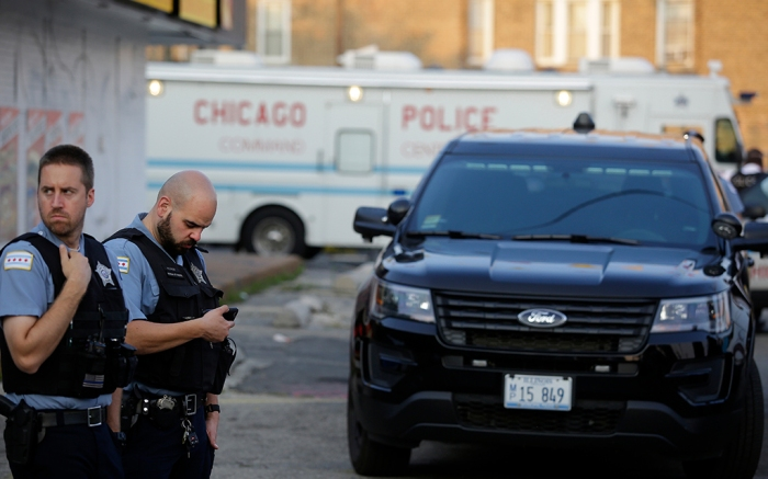 Chicago police outside police van