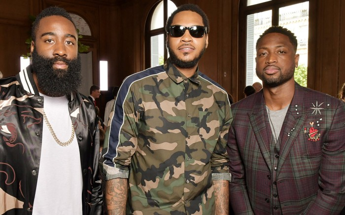 james harden, carmelo anthony, dwyane wade, valentino fashion show, paris fashion week mens