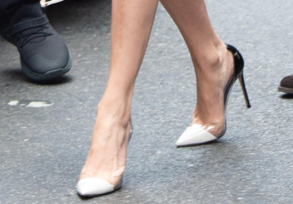 Gianvito Rossi plexi pumps, gucci tweed metallic dress, jlo street style, jennifer lopez feet