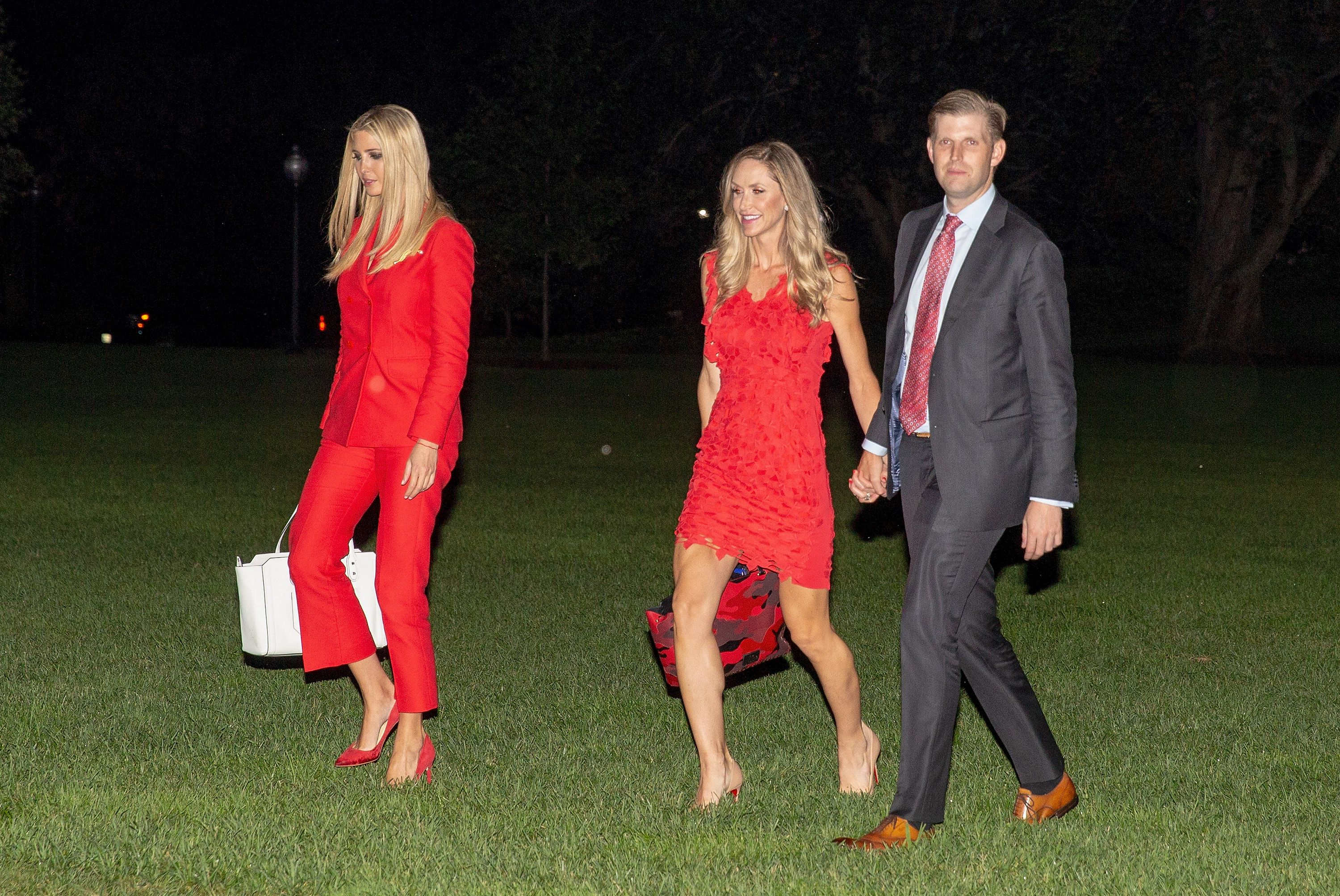 sandro suit, Ivanka Trump, Lara Trump and Eric Trump exit Marine One as they return from Tampa bay, Florida to the White House in Washington, DC, USA, 31 July 2018.President Trump returns to the White House, Washington, USA - 31 Jul 2018