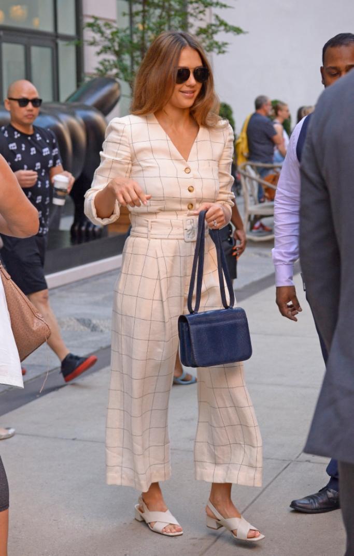 jessica alba street style, sea new york, By Far Anelia White Leather Sandals