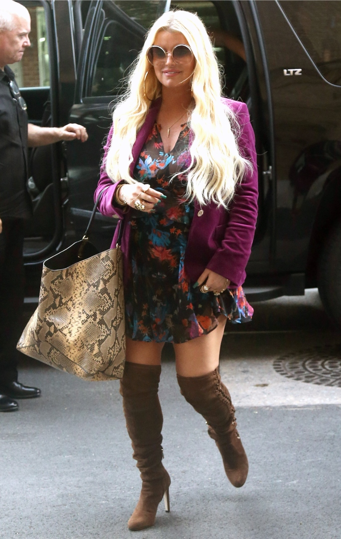 jessica simpson street style, thigh-high boots