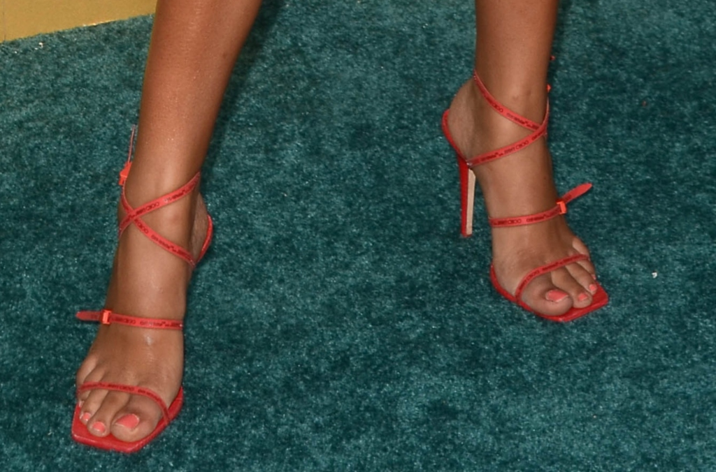 yara shahidi feet, Off-White c/o Jimmy Choo Jane rubber logo sandals