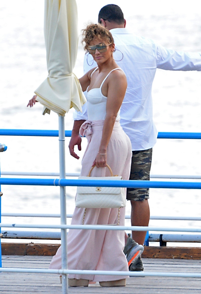 jennifer lopez vacation style, chanel, wedges, milly, naked wardrobe