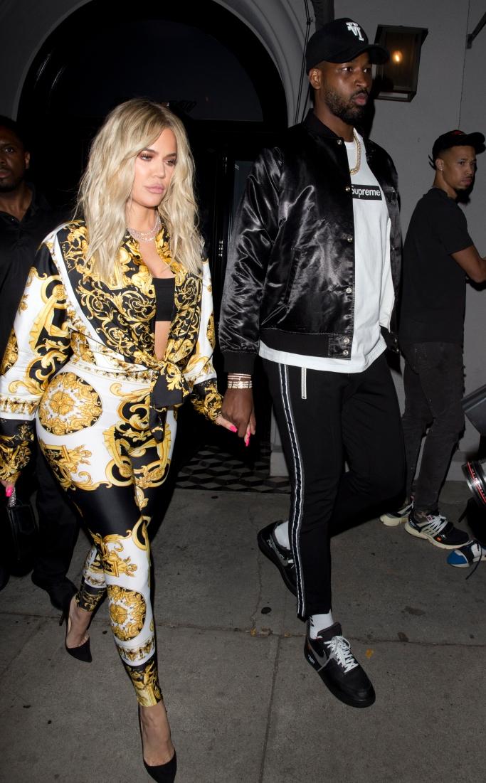 khloe kardashian, tristan thompson, celebrity couple style, versace off white nike air force 1 black