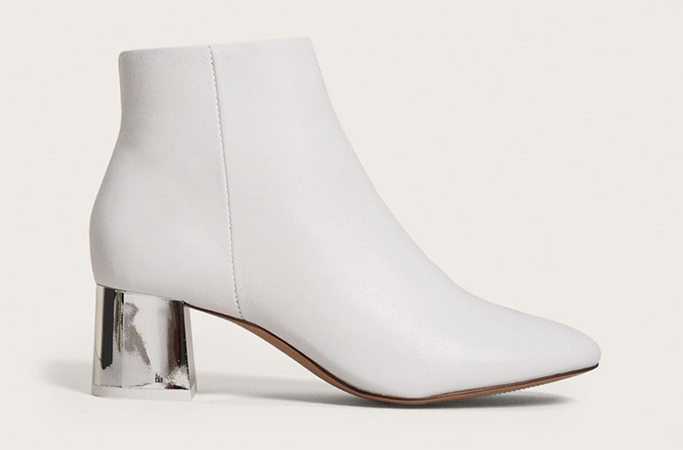 Metallic Heel Leather Ankle Boots