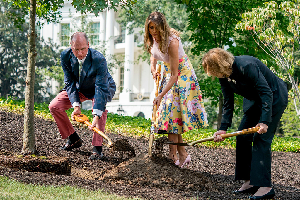 Melania Trump, Richard Emory Gatchell Jr., Mary Jean Eisenhower. From left, President James Monroe's fifth generation grandson Richard Emory Gatchell, Jr., first lady Melania Trump, and President Dwight Eisenhower's granddaughter Mary Jean Eisenhower, participate in a presidential tree planting ceremony on the South Lawn of the White House, in Washington. The sapling was grown from the Eisenhower Oak and replaces a tree which blew down during a windstorm earlier this year. Additionally, this year marks the 200th anniversary of President Monroe's family moving back into the White House after the British set fire to it during the War of 1812First Lady Tree Planting, Washington, USA - 27 Aug 2018