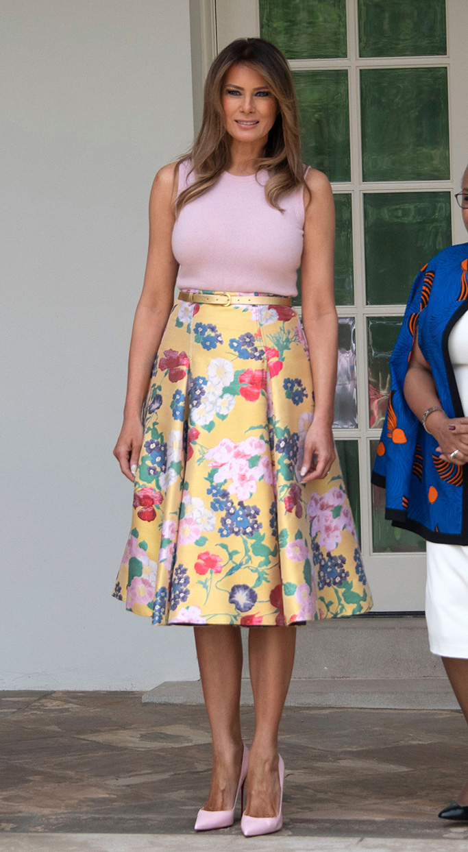 First lady Melania Trump stands on the Colonnade of the White HouseKenyan President Uhuru Kenyatta visit to Washington DC, USA - 27 Aug 2018