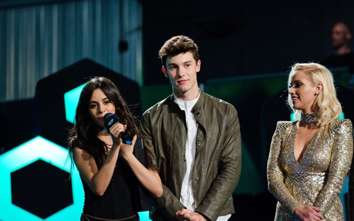 Camila Cabello, Shawn Mendes and Liz Trinnear seen at the 2016 iHeartRadio MuchMusic Video Awards, in Toronto, Canada.
