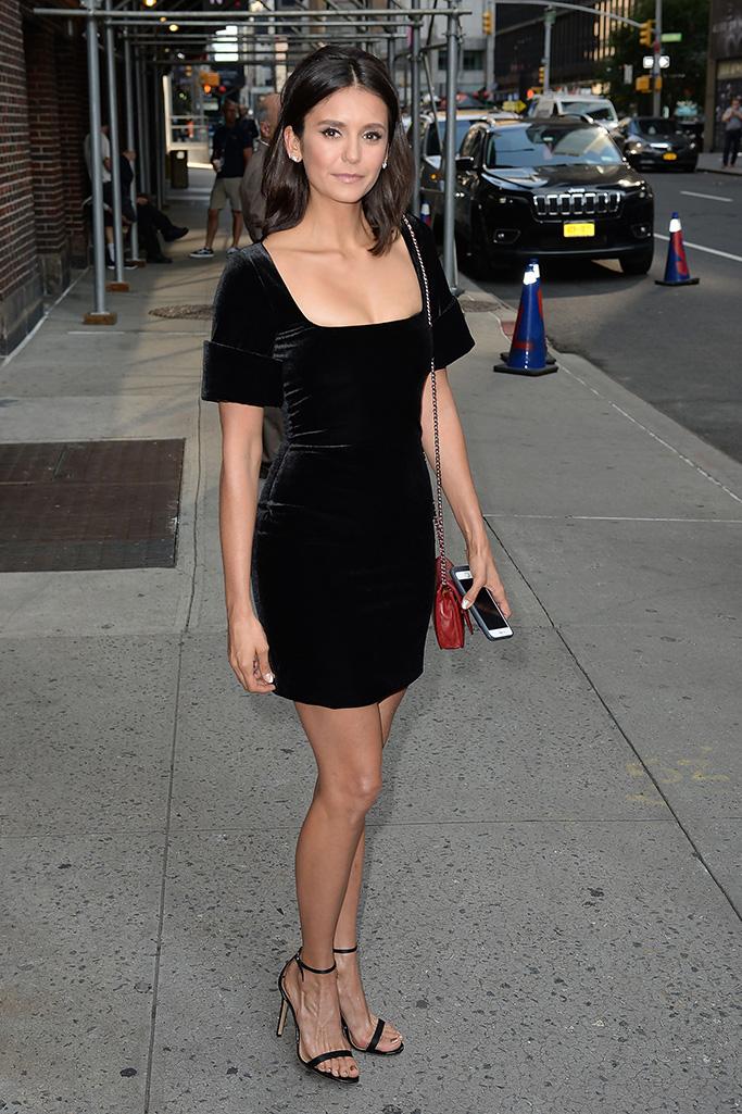 Nina Dobrev, stuart weitzman nudist sandals, 'The Late Show with Stephen Colbert' TV Show, New York, USA - 08 Aug 2018