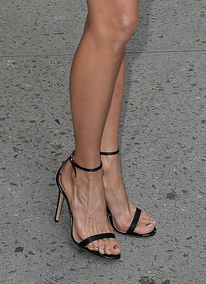 Nina Dobrev feet, stuart weitzman nudist sandals, 'The Late Show with Stephen Colbert' TV Show, New York, USA - 08 Aug 2018