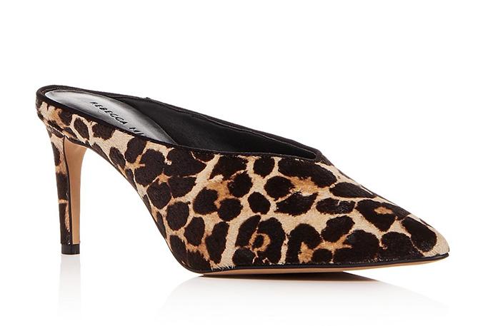 Rebecca Minkoff Gabian Leopard Print Calf Hair Mid-Heel Mules