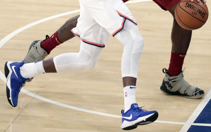 Frank Ntilikina and LeBron JamesCleveland Cavaliers at New York Knicks, USA - 13 Nov 2017New York Knicks guard Frank Ntilikina (L) tries to drive to the basket while being defended by Cleveland Cavaliers forward LeBron James (R) in the first half of the NBA game between the Cleveland Cavaliers and the New York Knicks at Madison Square Garden in New York, USA, 13 November 2017.