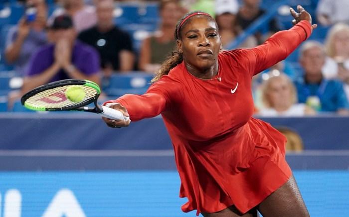 Serena Williams returns to Petra Kvitova, of the Czech Republic, at the Western & Southern Open tennis tournament, in Mason, OhioCincinnati Tennis, Mason, USA - 14 Aug 2018