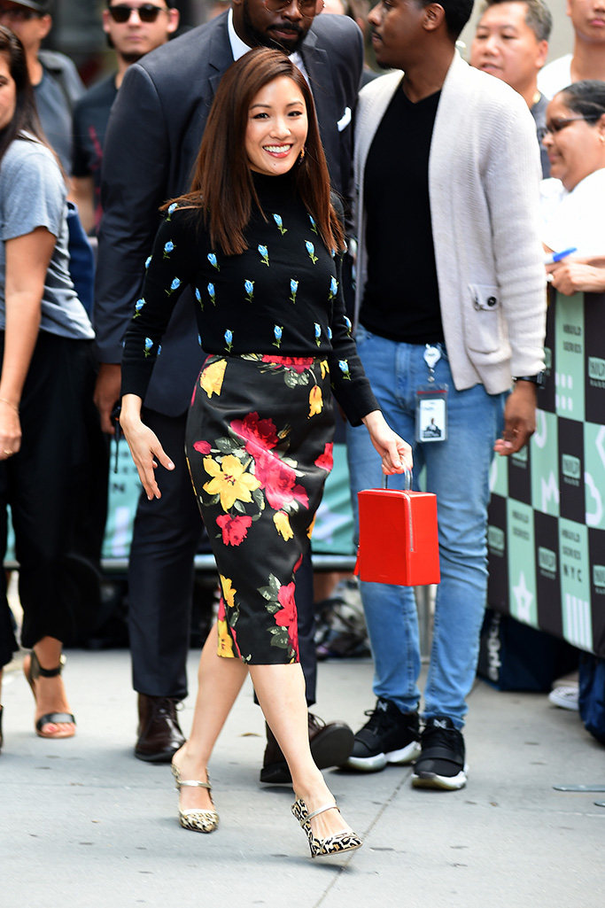 Constance Wu AOL Build Speaker Series, New York, USA - 14 Aug 2018WEARING MICHAEL KORS BAG BY BUILDING BLOCK SHOES BY MALONE SOULIERS