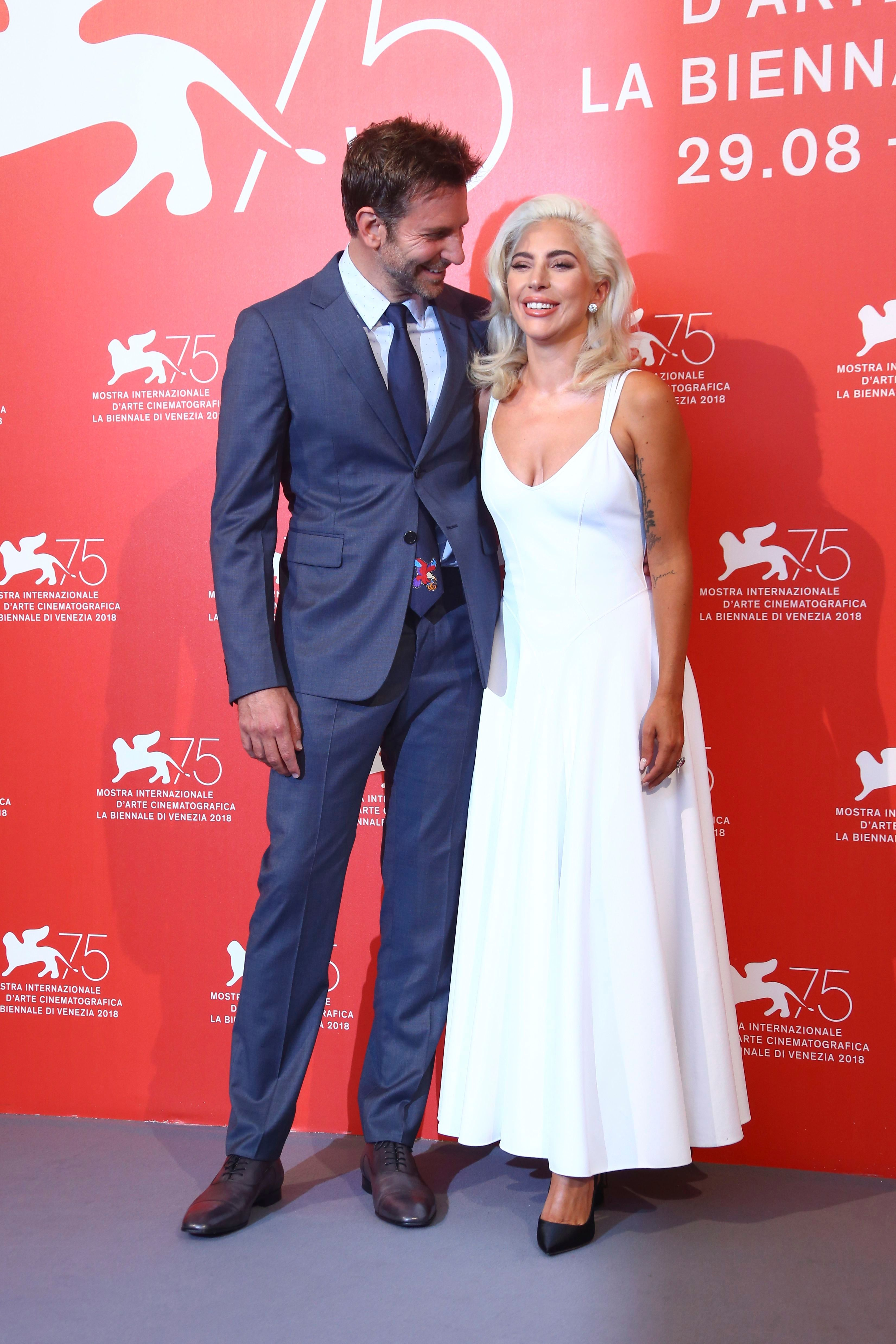 Bradley Cooper, Lady Gaga. Bradley Cooper and Lady Gaga poses for photographers at the photo call for the film 'A Star Is Born' at the 75th edition of the Venice Film Festival in Venice, ItalyFilm Festival 2018 A Star Is Born Photo Call, Venice, Italy - 31 Aug 2018