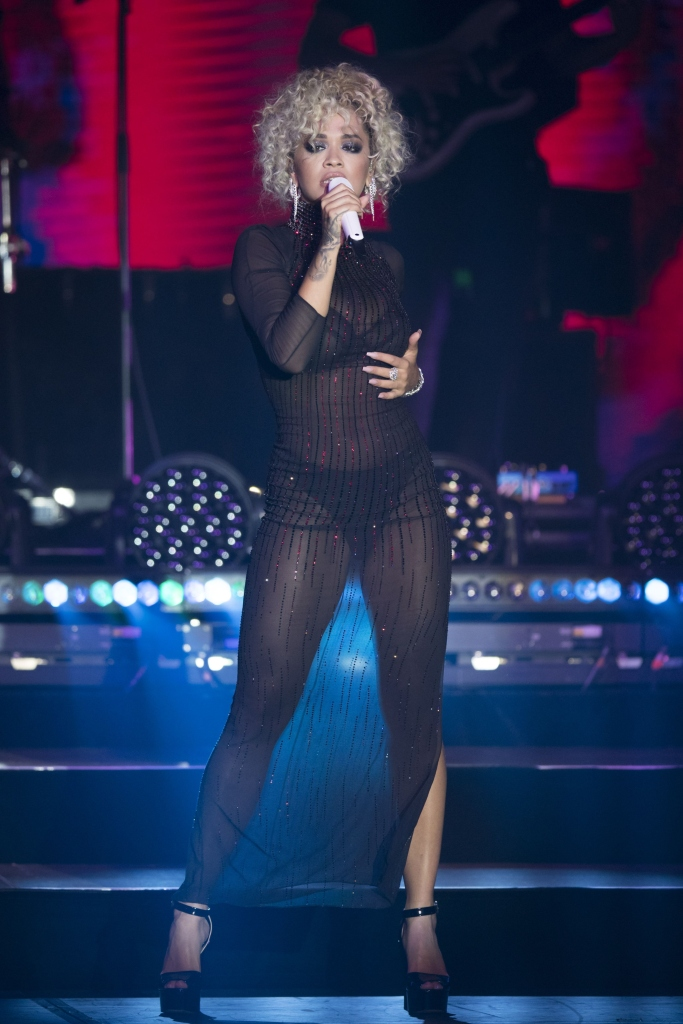 rita ora, sporting summer festival, giuseppe zanotti betty platforms, see-through dress