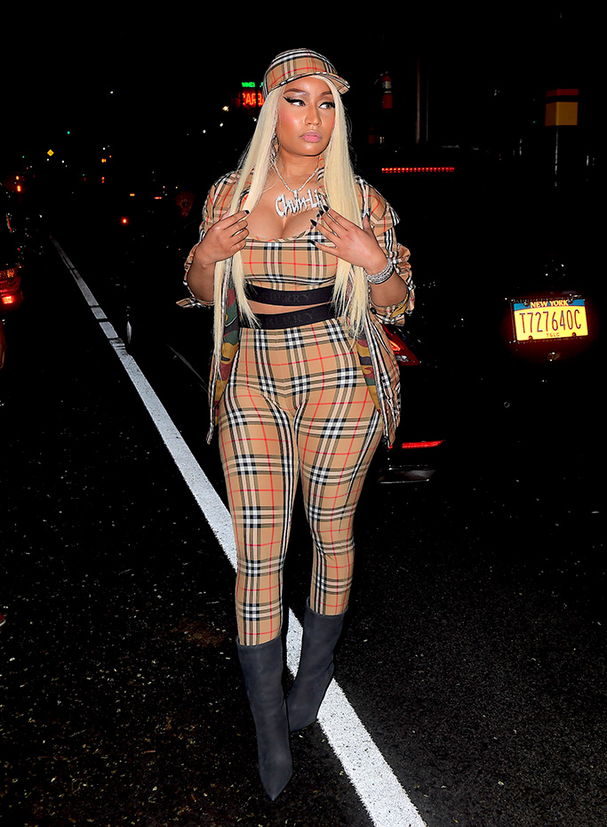 Rapper Nicki Minaj was spotted out in New York, NY after a vicious twitter war with ex-boyfriend, Safaree Samuels. The pair threw insults and accusations. Nicki looked completely and utterly unfazed by the drama as she arrived one hour late to a live Tidal interview in Soho. She wore head to toe Burberry, showing off her curves.Pictured: Nicki MinajRef: SPL5016178 150818 NON-EXCLUSIVEPicture by: 247PAPS.TV / SplashNews.comSplash News and PicturesLos Angeles: 310-821-2666New York: 212-619-2666London: 0207 644 7656Milan: +39 02 4399 8577Sydney: +61 02 9240 7700photodesk@splashnews.comWorld Rights, No Portugal Rights