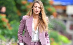 Blake Lively wears a pink suit