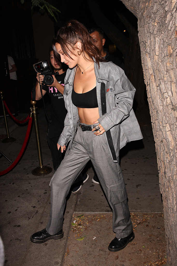 Supermodel, Bella Hadid, arrives at the Peppermint Club to watch her bestfriend, Jesse Jo Stark, perform her music in Los Angeles, CA.Pictured: Bella HadidRef: SPL5018980 290818 NON-EXCLUSIVEPicture by: Photographer Group / SplashNews.comSplash News and PicturesLos Angeles: 310-821-2666New York: 212-619-2666London: 0207 644 7656Milan: +39 02 4399 8577Sydney: +61 02 9240 7700photodesk@splashnews.comWorld Rights