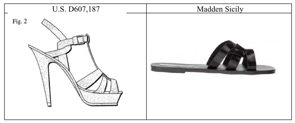 YSL sandal patent and Steve Madden Sicily sandal comparison