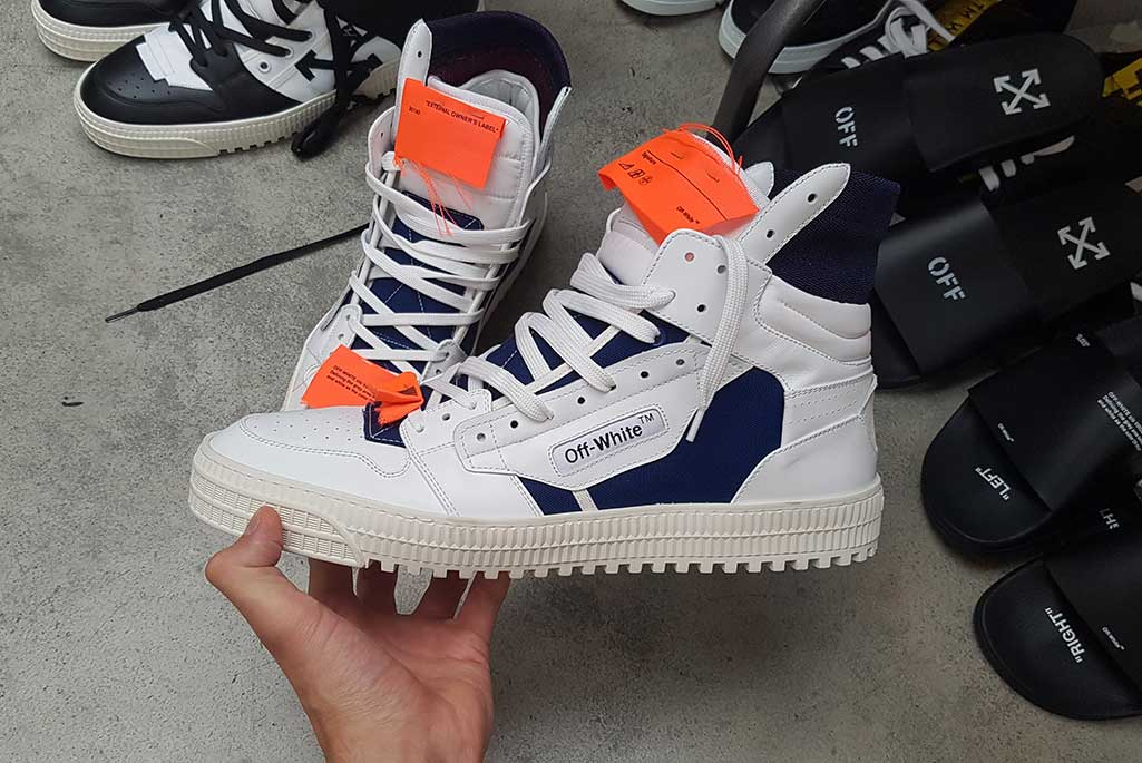An Off-White Off-Court sneaker created by Mathieu Hagelaars.
