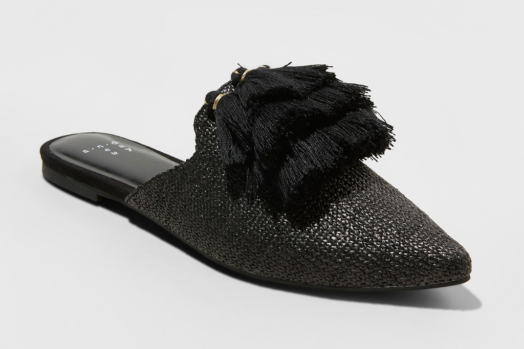 A New Day Anotoinette Woven Tassle Pointed Mules