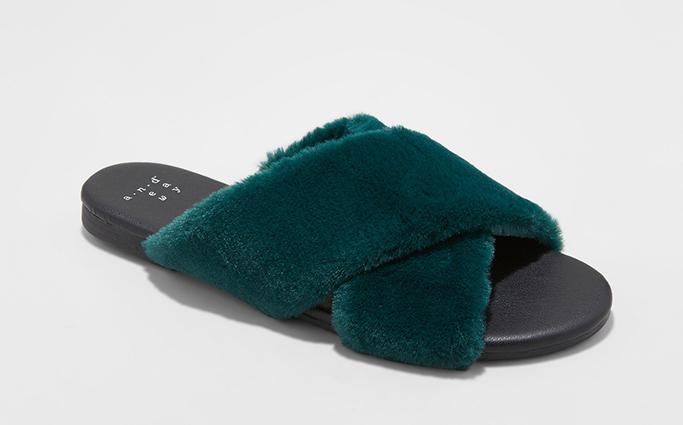 A New Day Frannie Crossband Faux Fur Slide Sandals