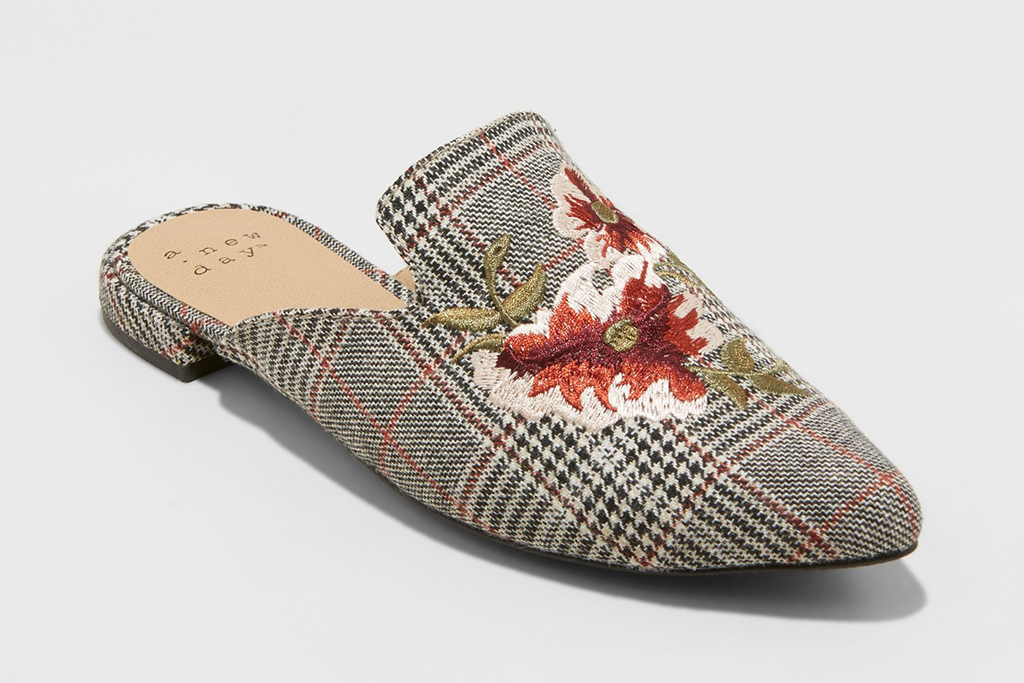 A New Day Eve Plaid Embroidered Backless Mules