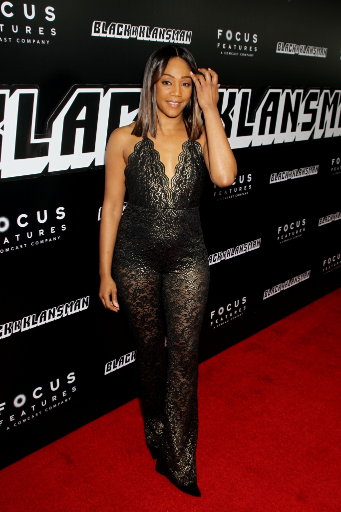 BlacKkKlansman premiere, tiffany haddish, lace, sheer, jumpsuit, red carpet, tiffany haddish red carpet style, pointy black pumps